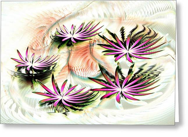 Aquatic Mixed Media Greeting Cards - Water Lilies Greeting Card by Anastasiya Malakhova