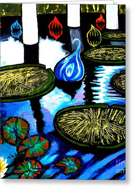 Water Lilies And Chihuly Glass Baubles At Missouri Botanical Garden Greeting Card by Genevieve Esson