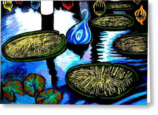 Stl Greeting Cards - Water Lilies and Chihuly Glass Baubles At Missouri Botanical Garden Greeting Card by Genevieve Esson