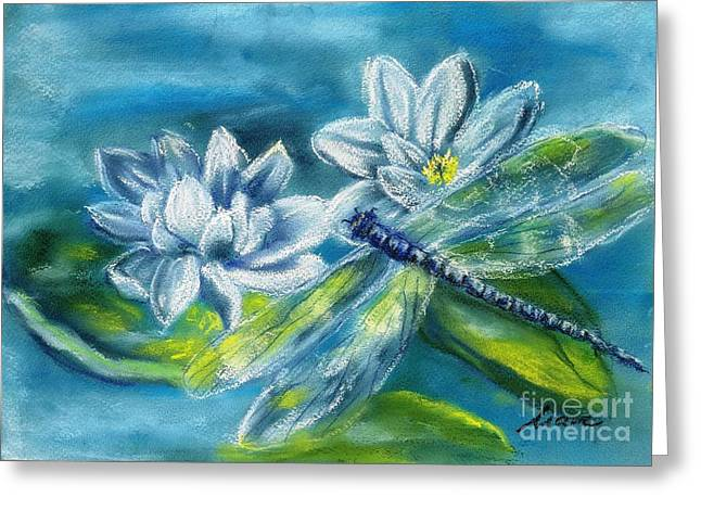 Dragonflies Pastels Greeting Cards - water lilies and Dragonfly Greeting Card by Marcela Elena Moada