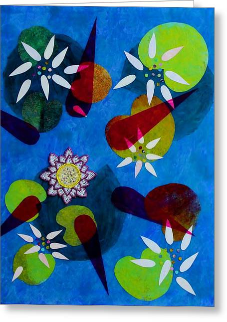 Colbalt Blue Greeting Cards - Water Lilies Greeting Card by Ann Laase Bailey