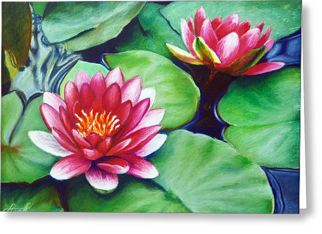 Water Lilies Greeting Card by Anna Abramska
