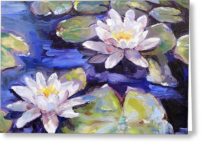 Lilly Pads Greeting Cards - Water Lilies Greeting Card by Donna Tuten