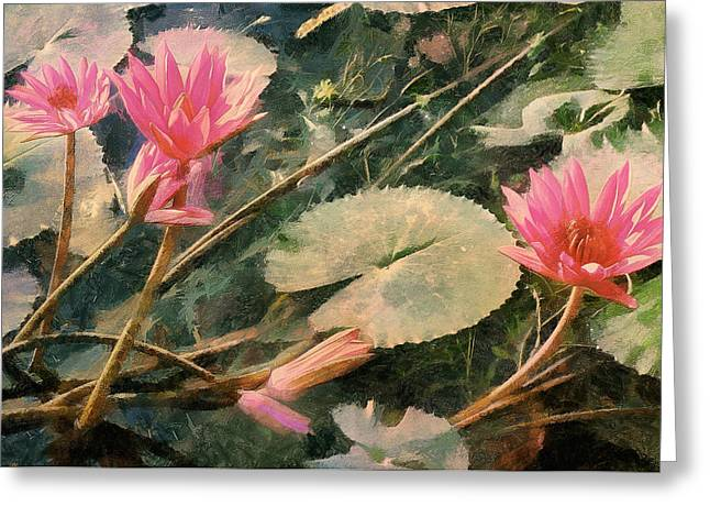 Water Garden Digital Art Greeting Cards - Water Lilies In A Stream Greeting Card by Bernie  Lee