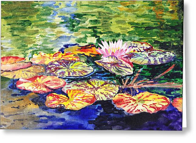 Landscape. Scenic Paintings Greeting Cards - Water Lilies Greeting Card by Irina Sztukowski