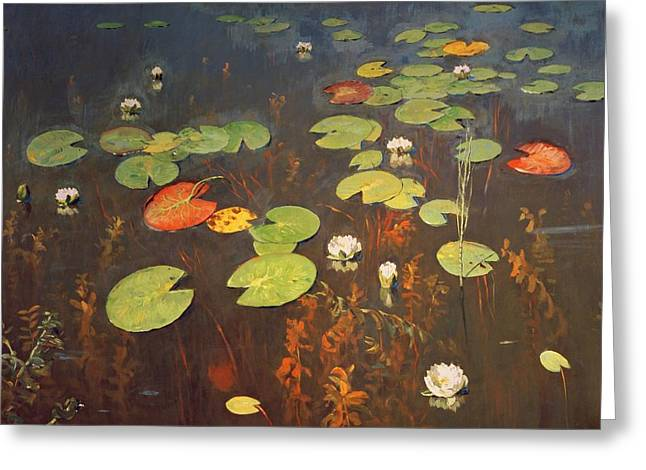 Water Lilies Greeting Card by Isaak Ilyich Levitan