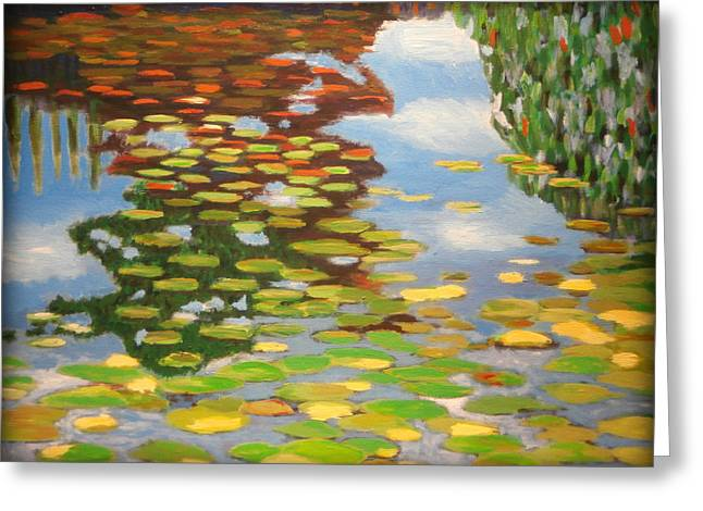 Impressionist Style Greeting Cards - Water Lilies Greeting Card by Karyn Robinson