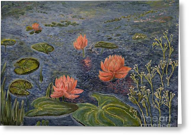 Print Greeting Cards - Water Lilies lounge Greeting Card by Felicia Tica