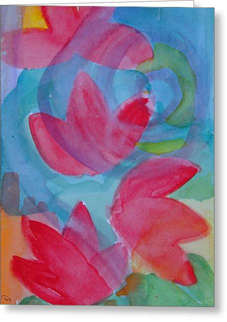 Claudia Smaletz Greeting Cards - Water Lilies Water Swirls version II Greeting Card by Claudia Smaletz