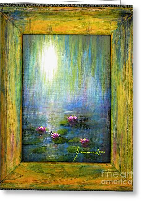 Willow Lake Greeting Cards - Water Lilies with Painted Frame Greeting Card by Jerome Stumphauzer
