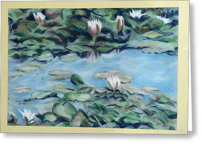 Water Lilly Pastels Greeting Cards - Water Lillies Greeting Card by Elaine Berger