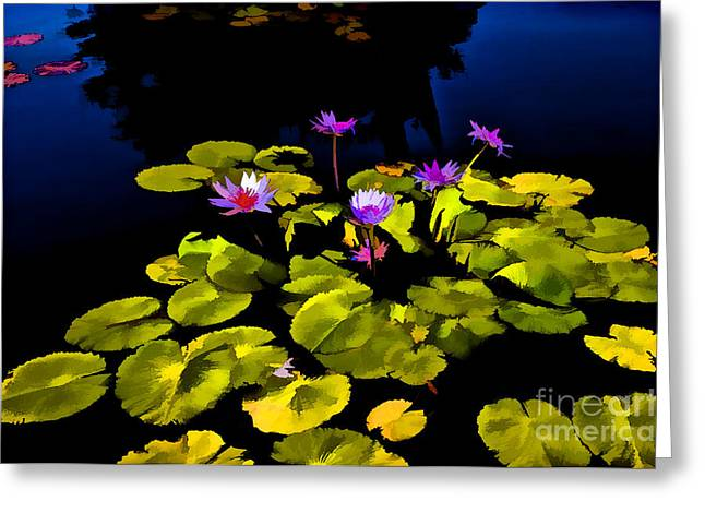 Lilly Pad Greeting Cards - Water Lillies Greeting Card by Frances Hattier
