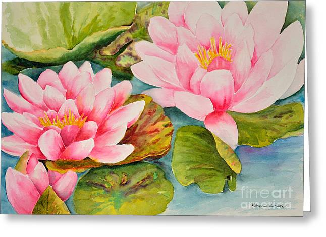 Water Lilly Greeting Cards - Water Lillies Greeting Card by Karen Crate