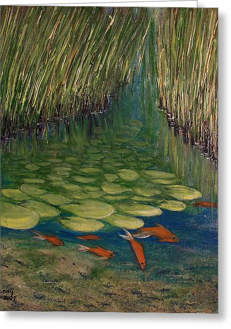 Water Lilly Mixed Media Greeting Cards - Water Lillies Greeting Card by Kenny Henson