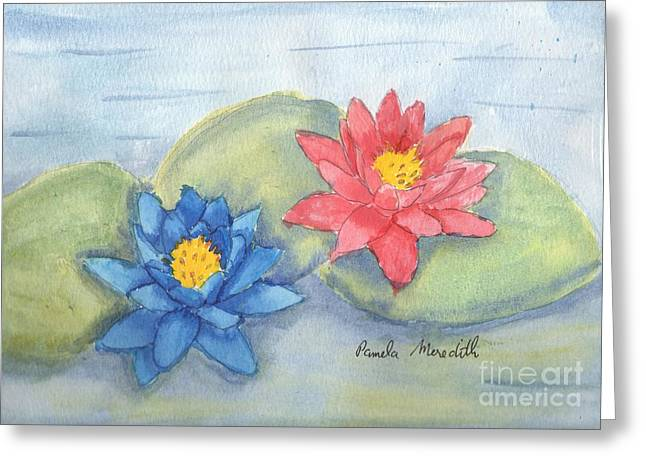 Water Lilly Greeting Cards - Water   Lillies  Greeting Card by Pamela  Meredith