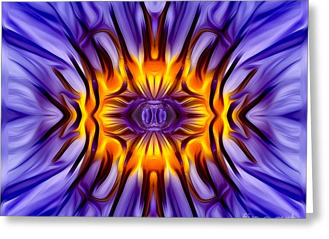 Water Lilly Greeting Cards - Water Lily Abstract Greeting Card by Susan Candelario