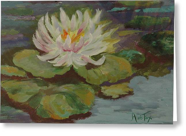 Avis Greeting Cards - Water Lily Greeting Card by Avis Fox
