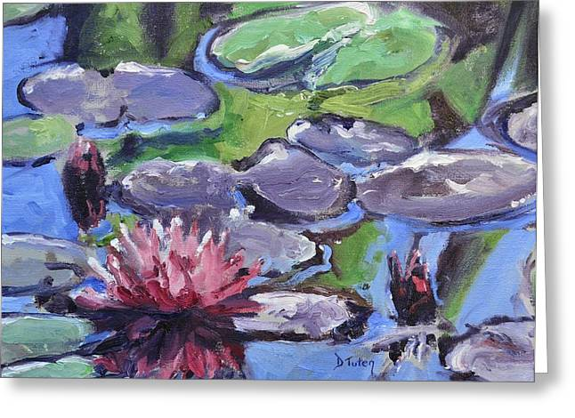 Lilly Pads Greeting Cards - Water Lily Greeting Card by Donna Tuten