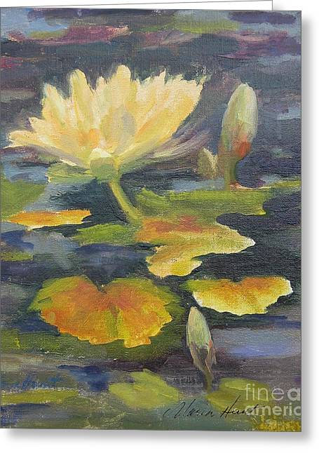 Reflection In Water Greeting Cards - Water Lily in the Fountain Greeting Card by Maria Hunt