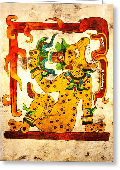 Mayan Jaguar Greeting Cards - Water Lily Jaguar with flames Greeting Card by Judith Murphy