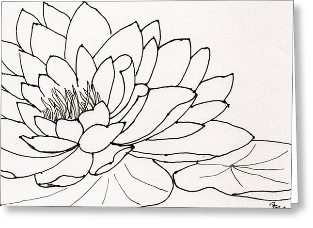 African-american Artist Drawings Greeting Cards - Water Lily Line Drawing Greeting Card by Anita Lewis