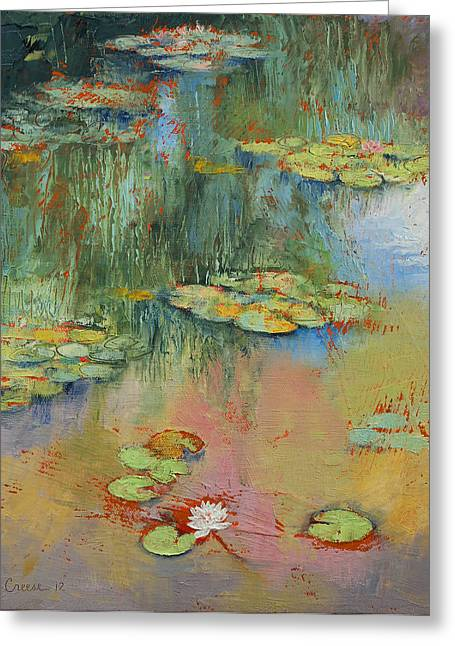 Lilly Pond Paintings Greeting Cards - Water Lily Greeting Card by Michael Creese