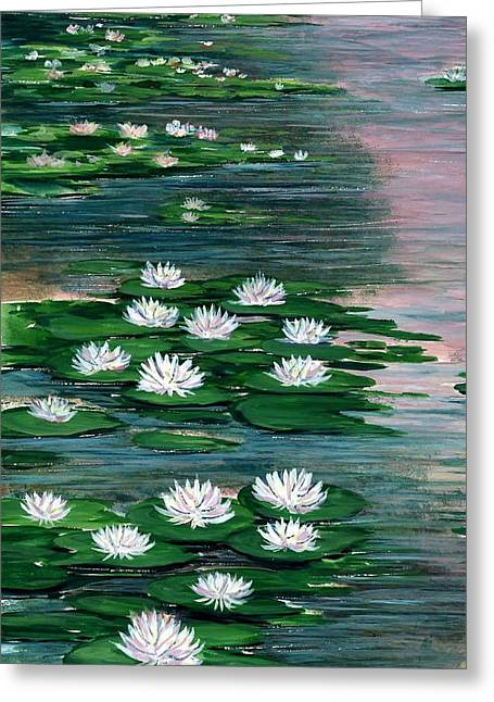 Award Winning Floral Art Greeting Cards - Water Lily Pads Greeting Card by Steven Schultz