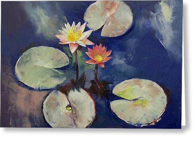 Lilly Pond Paintings Greeting Cards - Water Lily Painting Greeting Card by Michael Creese