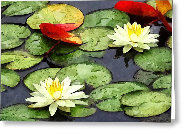Ponds Greeting Cards - Water Lily Pond in Autumn Greeting Card by Susan Savad