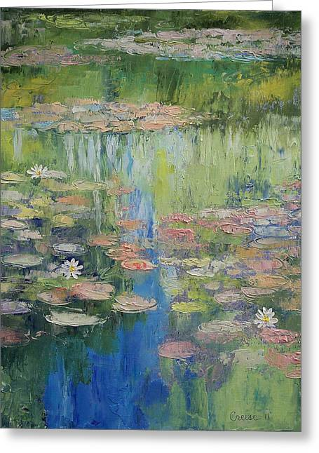 Lilly Pond Paintings Greeting Cards - Water Lily Pond Greeting Card by Michael Creese