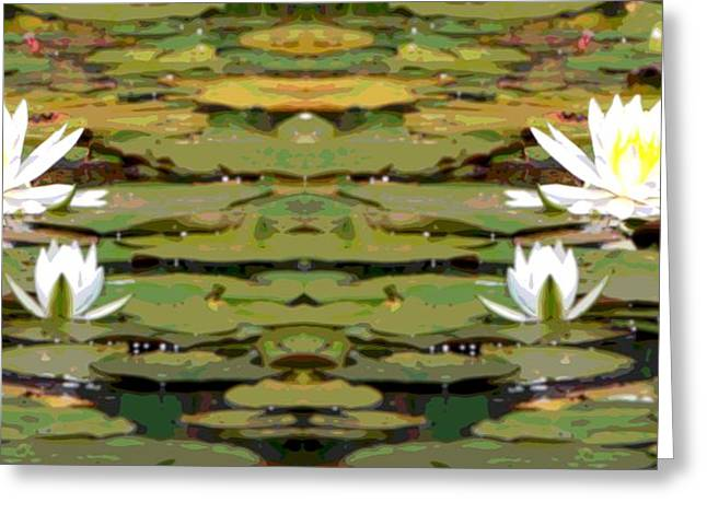 Aquatic Mixed Media Greeting Cards - Water Lily Poster Greeting Card by Dan Sproul