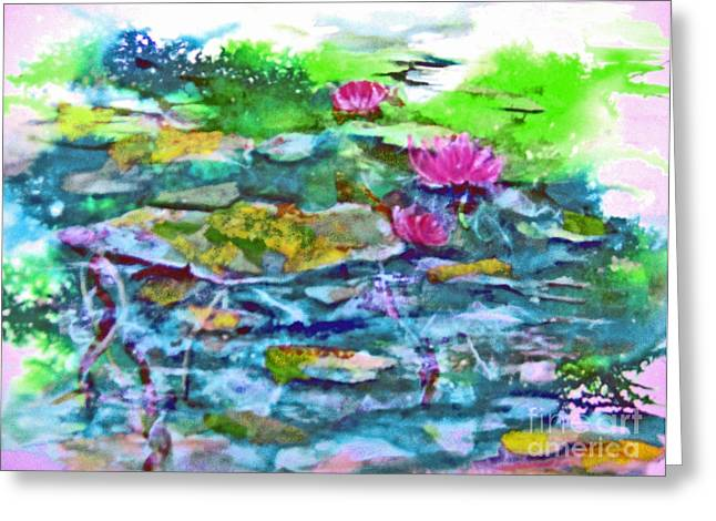Blue Mixed Media Greeting Cards - Water Lily Series V Greeting Card by BJ Pinkston