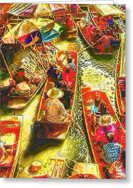 Umbrella Greeting Cards - Water Market Greeting Card by Mo T