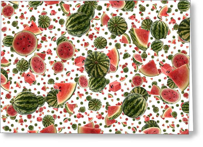 Watermelon Greeting Cards - Water Melon background Greeting Card by Handmade Pictures