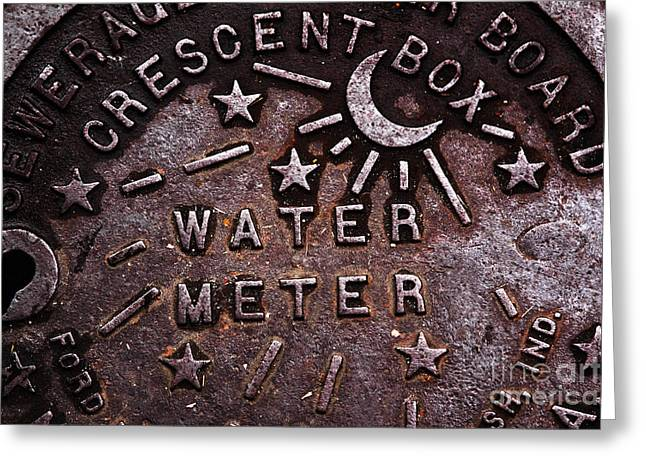 Contemporary Fine Art Photographers Greeting Cards - Water Meter Greeting Card by John Rizzuto