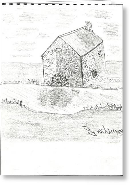 John Williams Drawings Greeting Cards - Water Mill Greeting Card by John Williams