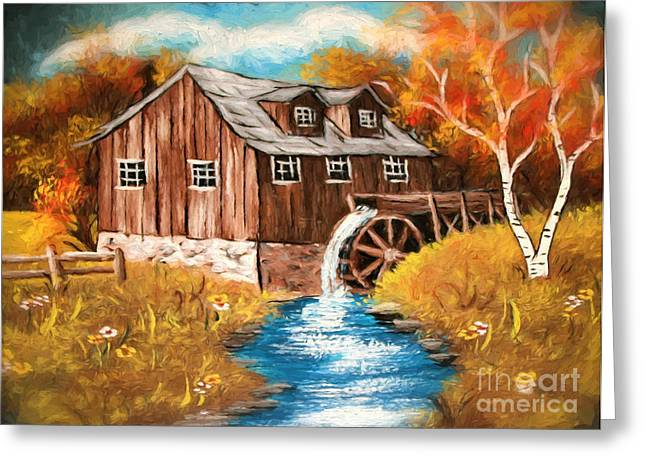 Water Mill Greeting Cards - Water Mill  Oil Painting on canvas Greeting Card by Heinz G Mielke
