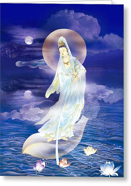 Goddess Print Greeting Cards - Water Moon Avalokitesvara  Greeting Card by Lanjee Chee