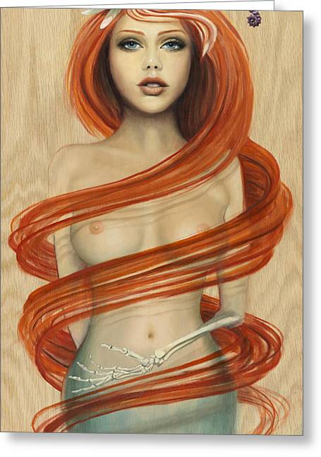 Siren Underwater Greeting Cards - Water Nymph Greeting Card by Kelly Meagher