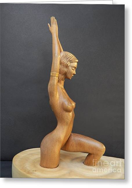 Art Sale Sculptures Greeting Cards - Water Nymph - Wood Sculpture of Naked Woman Greeting Card by Carlos Baez Barrueto
