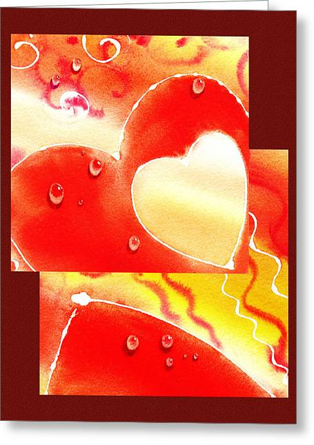 Water On Color Collage Two Greeting Card by Irina Sztukowski