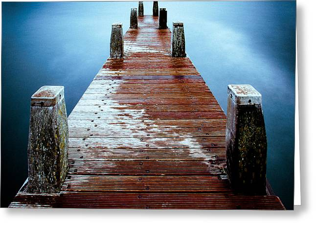 Wooden Dock Greeting Cards - Water on the Jetty Greeting Card by Dave Bowman