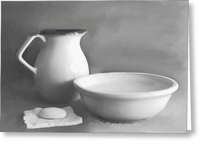 White Cloth Mixed Media Greeting Cards - Water Pitcher and Basin Greeting Card by Linda Muir