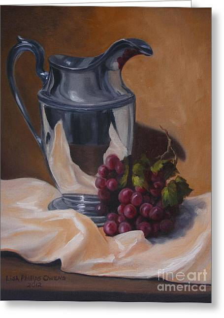 Old Pitcher Paintings Greeting Cards - Water Pitcher With Fruit Greeting Card by Lisa Phillips Owens