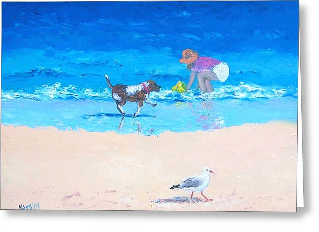 Seagull On Beach Greeting Cards - Water Play Greeting Card by Jan Matson