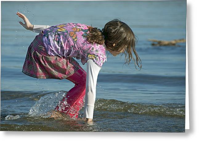 Girl In Water Greeting Cards - Water Play Greeting Card by Steven  Michael