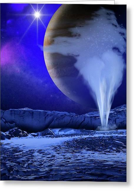 Water Plume On Europa Greeting Card by Nasa/esa/k. Retherford/swri