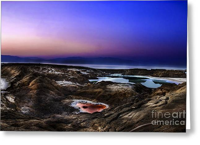 Sink Hole Greeting Cards - Water pools in sink holes Greeting Card by Dan Yeger