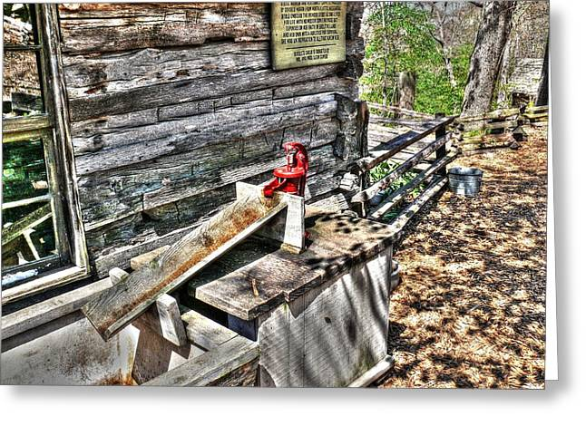 Mechanism Photographs Greeting Cards - Water Pump in Nature Greeting Card by John Straton