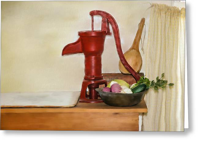 Lettuce Mixed Media Greeting Cards - Water Pump Greeting Card by Mary Timman